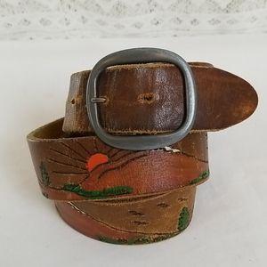 Vintage Mountain Scene Bird Tooled-Leather Belt